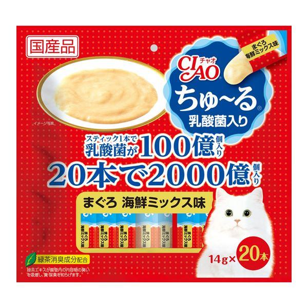 (まとめ)CIAO ちゅ~る 乳酸菌入り まぐろ 海鮮ミックス味 14g×20本 (ペット用品・猫フード)【×16セット】【送料無料】