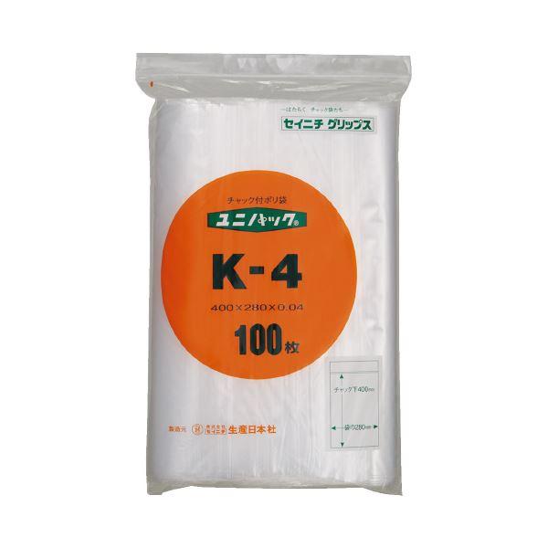 (まとめ)生産日本社 ユニパックチャックポリ袋400*280 100枚K-4(×20セット)【送料無料】