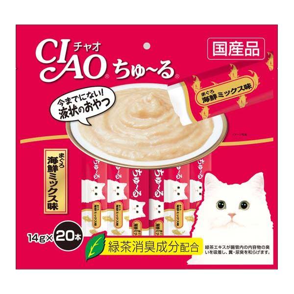 (まとめ)CIAO ちゅ~る まぐろ 海鮮ミックス味 14g×20本 (ペット用品・猫フード)【×16セット】【送料無料】