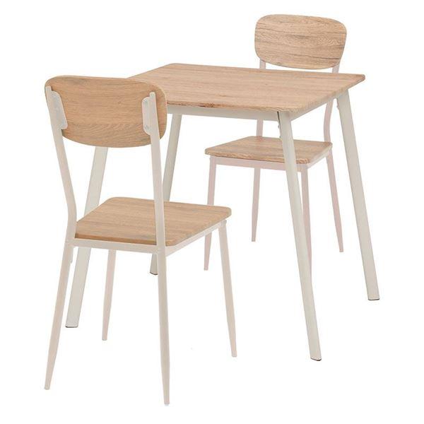ダイニングテーブル&チェア 3点セット 【テーブル幅70cm ナチュラルホワイト】 木目調 スチールパイプ 〔リビング 台所〕【代引不可】