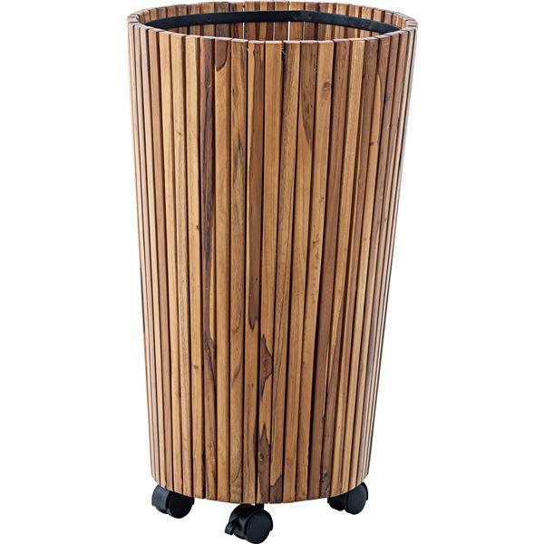 ウッドプランター/植木鉢 2個セット 【L 直径39cm×高さ65cm】 木製 キャスター付き 〔ガーデニング用品 園芸用品〕【送料無料】