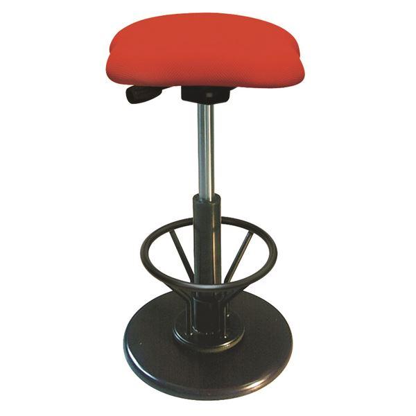 モダン スツール/丸椅子 【フットレスト付き レッド×ブラック】 幅33cm 日本製 【代引不可】
