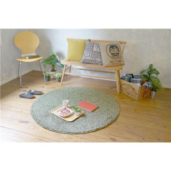 防ダニ ラグマット/絨毯 【120×120cm 円形 グリーン】 日本製 洗える 防滑 『スミノエ ミランジュ』 〔リビング ダイニング〕【代引不可】