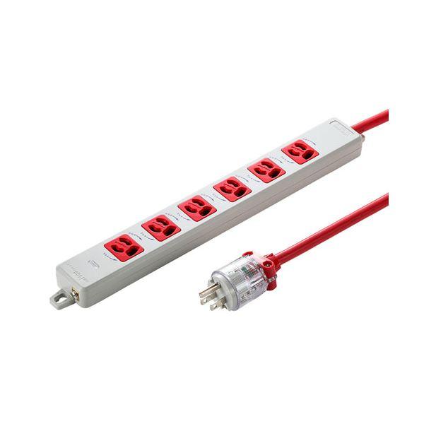 サンワサプライ 医用接地プラグ付き電源タップ レッド TAP-HPM6-3R