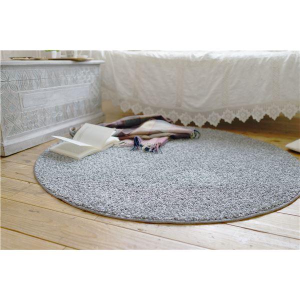 防ダニ ラグマット/絨毯 【120×120cm 円形 グレー】 日本製 洗える 防滑 『スミノエ ミランジュ』 〔リビング ダイニング〕【代引不可】