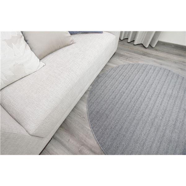 防ダニ ラグマット/絨毯 【120×120cm 円形 グレー】 日本製 洗える 防滑 『スミノエ ナチュール』 〔リビング ダイニング〕【代引不可】