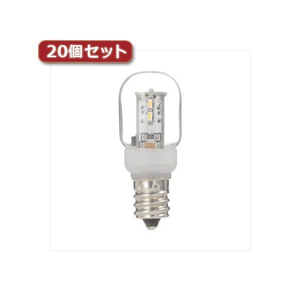 YAZAWA ナツメ形LEDランプ電球色E12クリア20個セット LDT1LG20E12X20
