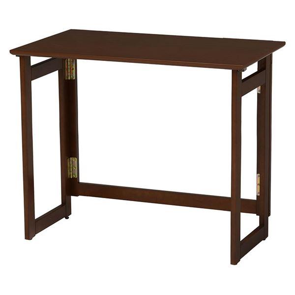 折りたたみテーブル/ローテーブル 【約幅80cm×奥行40cm×高さ71cm ダークブラウン】 木製 キャスター付き 〔リビング〕【代引不可】
