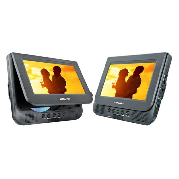7インチ ツインモニター付き DVDプレイヤー KH-TDP711 ホルダーケース付き ドライブ 寝室 キッチン【あす楽対応】【送料無料】