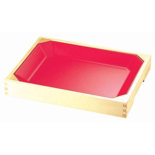 ヤマコー メラミン惣菜盆(木枠付) 朱 ASU0201