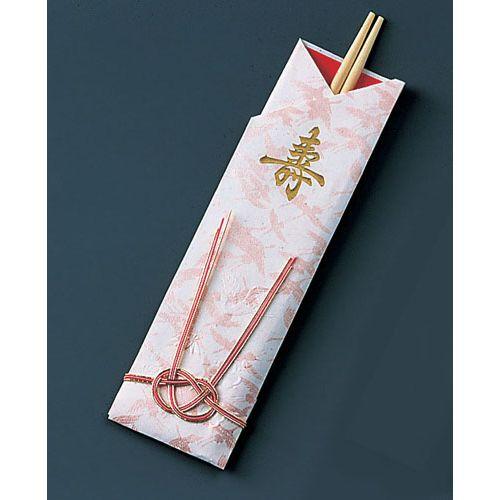 ツボイ 袋入祝箸5膳 千羽鶴水引付 アスペン祝箸 (1ケース200パック入) XHSA6