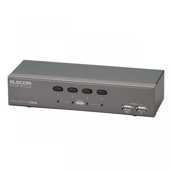 [ELECOM(エレコム)] 【4回路】【USB】パソコン切替器 KVM-NVU4(代引き不可)【int_d11】