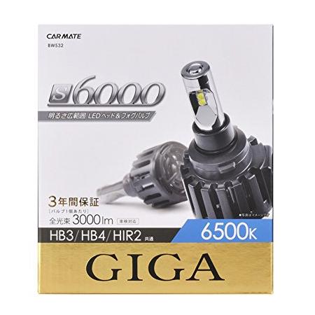 カーメイト LEDヘッド&フォグバルブ S6000 6500K HB3/4/HI BW532 高出力 明るさ広範囲