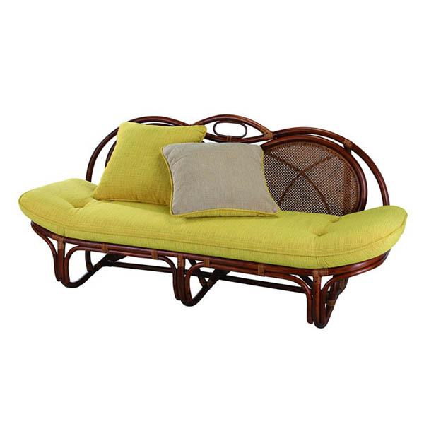 今枝ラタン カウチソファ カウチ ソファ ソファー 椅子 2人掛け チェア 籐 CN色 ダークブラウン 茶 黄 マスタード 緑 赤 A-160D【送料無料】