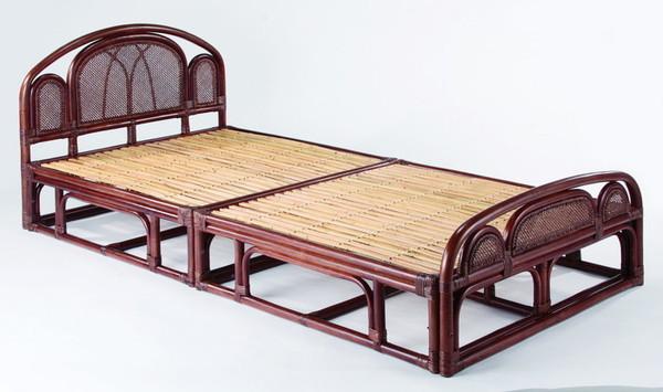 今枝ラタン シングルベッド 籐 アジアン家具 高級ラタン エスニック バリ 高品質 温浴備品 おしゃれ 高耐久 長持ち W-008SD【送料無料】