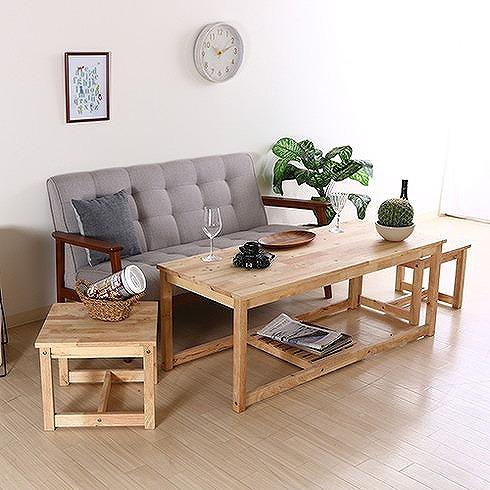 Natural Signature ネストテーブル W1200×D500×H450mm 天然木(ラバーウッド) おしゃれ(代引不可)【送料無料】