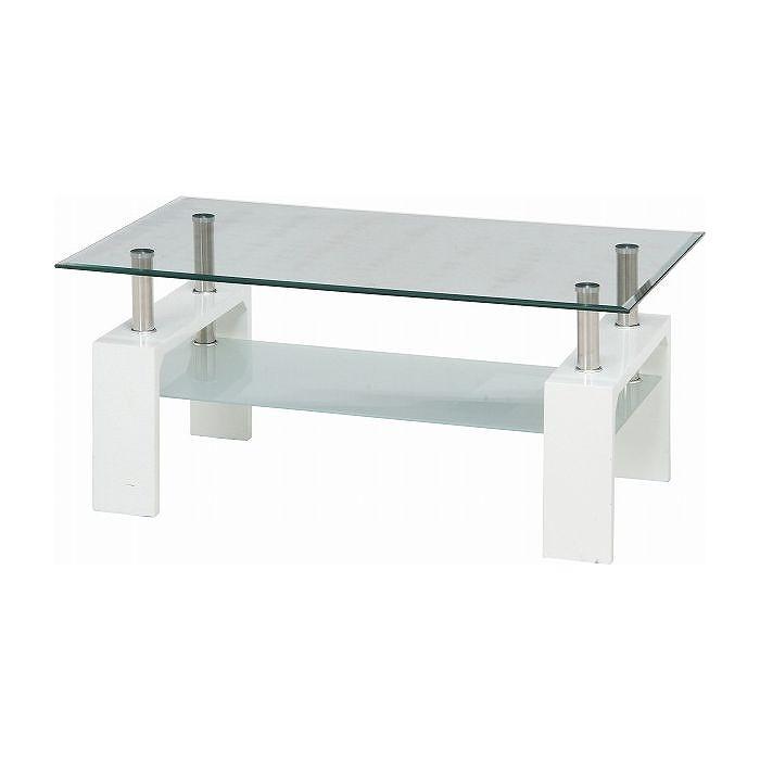 センターテーブル フォーカス W1000×D600×H450mm 強化ガラス スチール おしゃれ ホワイト(代引不可)【送料無料】