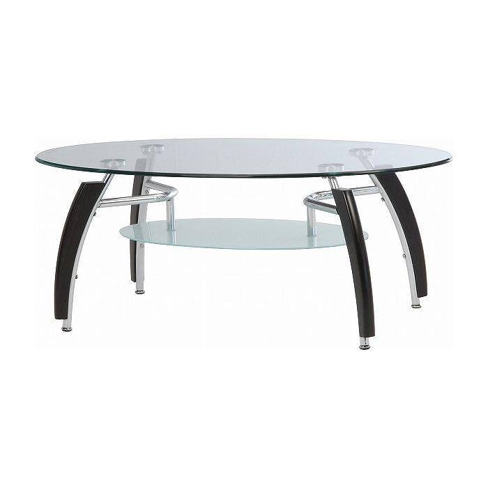 ガラスセンターテーブル W1100×D600×H440mm 強化ガラス スチール おしゃれ ブラウン(代引不可)【送料無料】