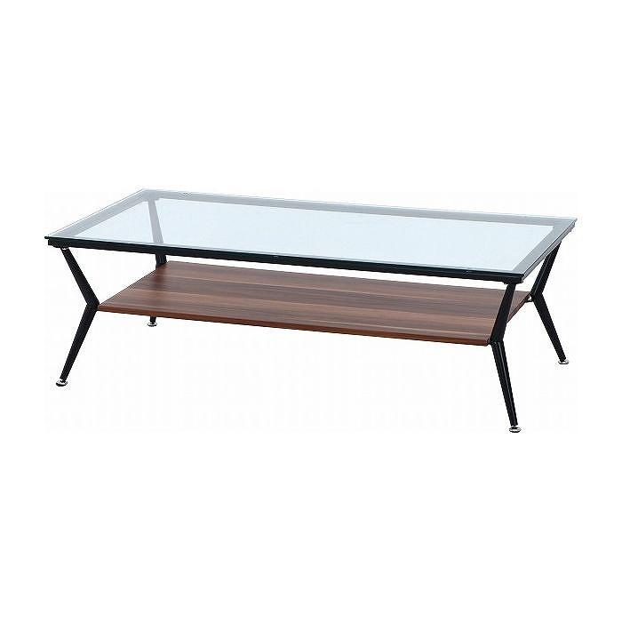 ガラスリビングテーブル W1200×D600×H380mm 強化ガラス スチール おしゃれ ダークブラウン(代引不可)【送料無料】