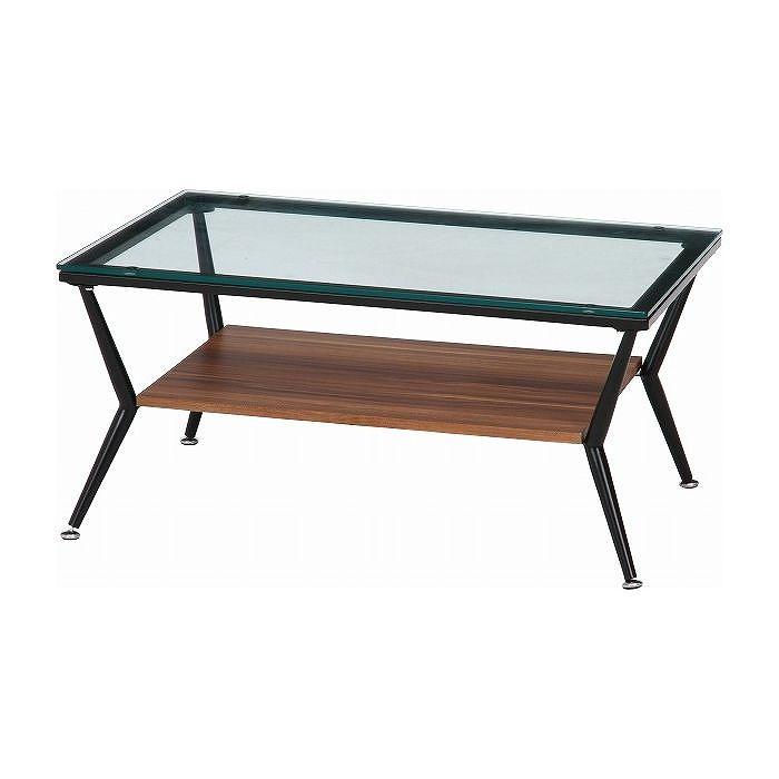 ガラスリビングテーブル W800×D520×H380mm 強化ガラス スチール おしゃれ ダークブラウン(代引不可)【送料無料】