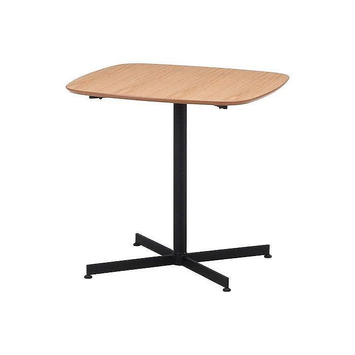 カフェテーブル W750×D750×H720mm 天然木化粧繊維板(オーク) スチール おしゃれ ナチュラル(代引不可)【ポイント10倍】【送料無料】