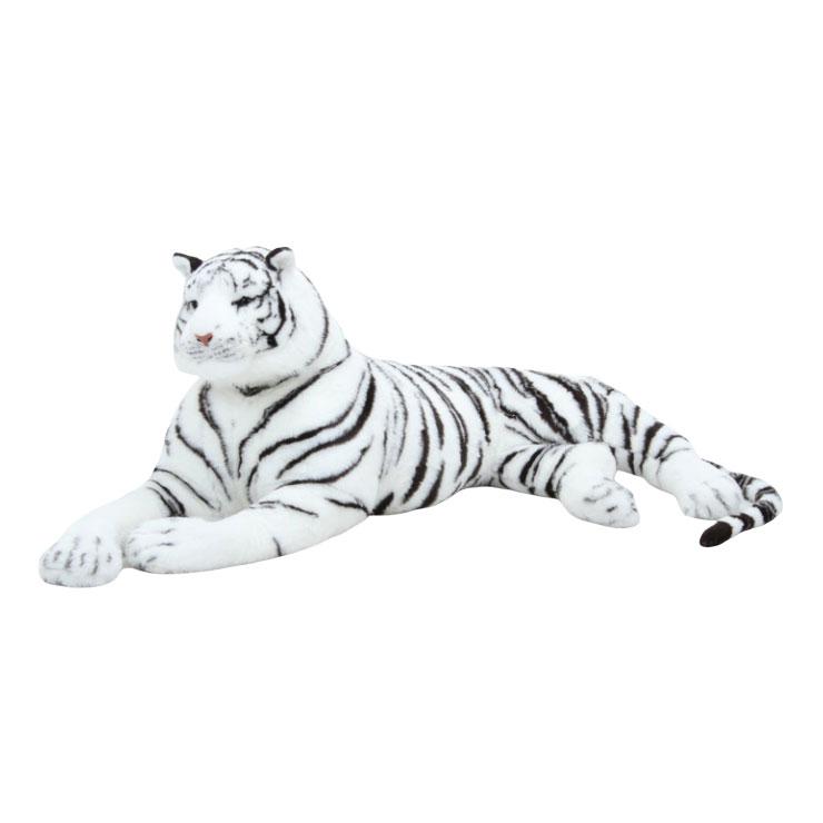 ホワイトタイガー 人形 ホワイト 幅90×奥行70×高さ57cm ポリエステル(代引不可)【送料無料】