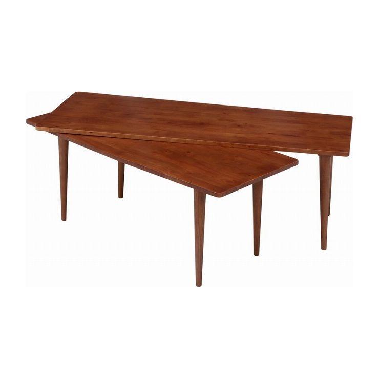 センターテーブル 幅120×奥行43~50×高さ36.5cm 天然木 ラバーウッド(代引不可)【送料無料】