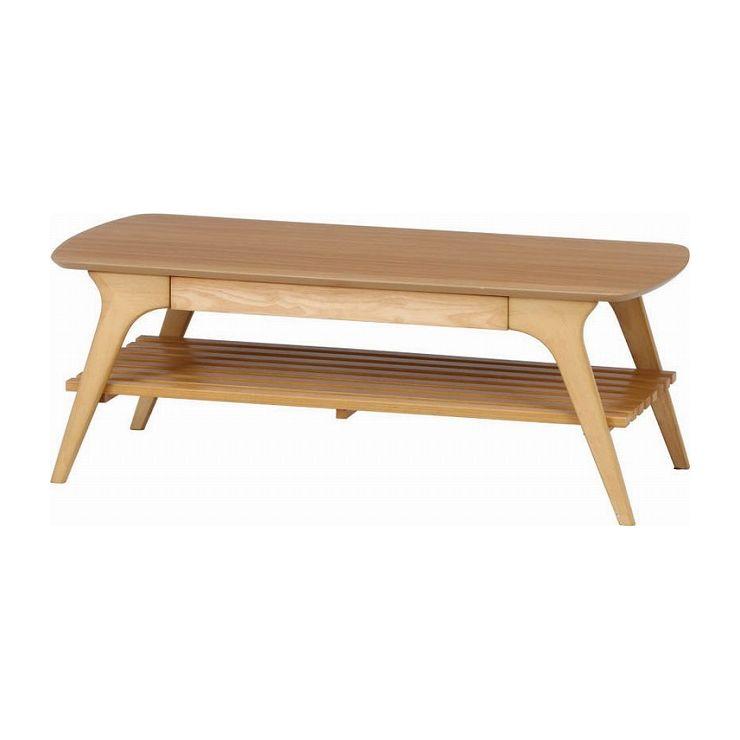 引出し付きセンターテーブル ナチュラル 幅110×奥行50×高さ40cm 材質 MDF、ウォルナット突板、天然木 ラバーウッド(代引不可)【送料無料】