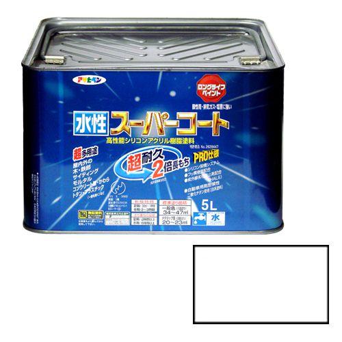アサヒペン 多用途水性スーパーコート 5Lつや消し白(代引不可)【送料無料】