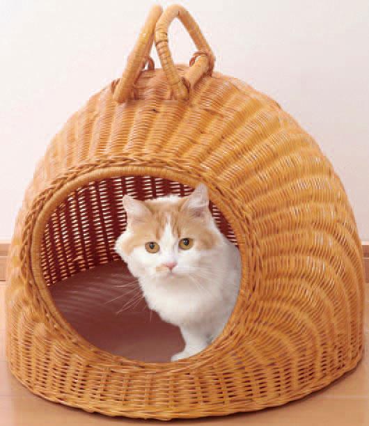 キャットハウス ラタンキャットハウス ちぐらタイプ 猫 ハウス 天然籐 ネコちゃんハウス(代引不可)【送料無料】