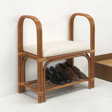 玄関ベンチ 天然籐玄関ベンチ 天然籐 籐 靴収納 立ち上がり ラクラク(代引不可)【送料無料】