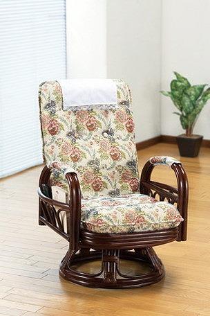高座椅子 天然籐 リクライニング回転座椅子 ハイタイプ リクライニングチェア 籐 回転座椅子 回転チェア 座椅子 椅子 イス(代引不可)【送料無料】