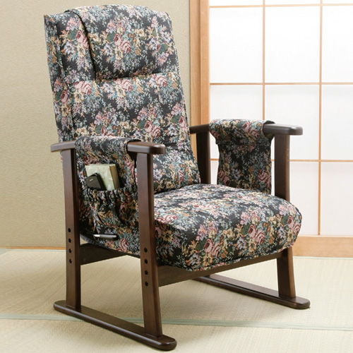 高座椅子 お尻にやさしいコイルスプリング高座椅子 DX 8段階 リクライニング 座面 低反発 座椅子 クッション性(代引不可)【送料無料】【S1】