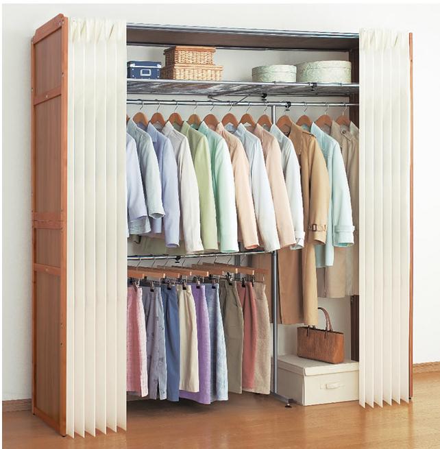 木製クローゼットハンガー 棚付き ワードローブ ハンガーラック クローゼット カバー付き 2段 横伸縮 木製 衣類収納(代引不可)【送料無料】
