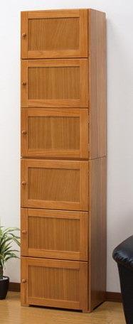 キッチン収納 桐製すきま収納庫 6ドア 45cm幅 キッチン棚 扉付き すきま収納 6段 大容量 収納 収納庫(代引不可)【送料無料】