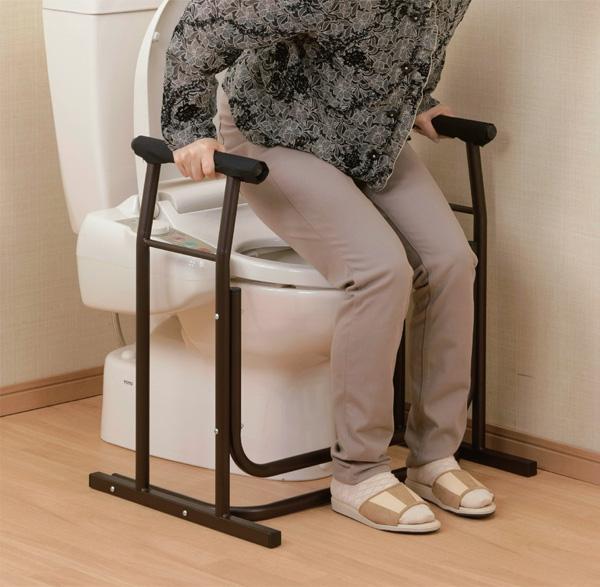 手すり トイレサポート手すり シルバー用品 介護用品 歩行補助 ステッキ 介護 膝 腰 負担 軽減(代引不可)【送料無料】