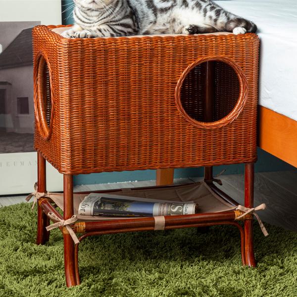 ラタンベッド サイドベッド 猫用ベッド ペット おしゃれ 高級感 贈り物 プレゼント かわいい 映え インテリア(代引不可)【送料無料】