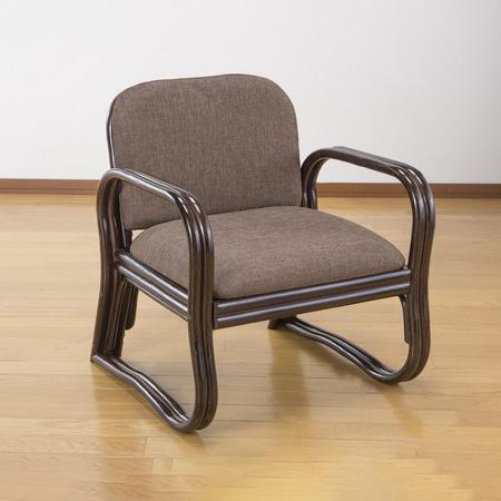 座椅子 ミドルタイプ 天然籐 フレーム 幅55cm 奥行53cm 高さ64cm 座面高35cm 軽量 持ち運び ウレタンフォーム 椅子 お年寄り(代引不可)【送料無料】