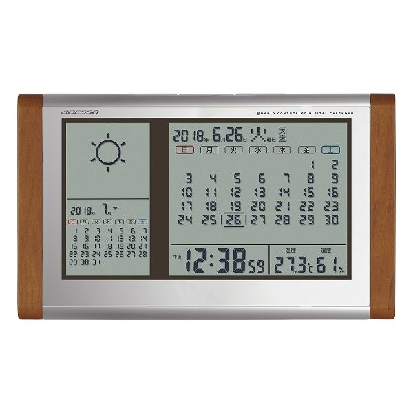 アデッソ カレンダー天気電波時計 TB-834(代引不可)【送料無料】
