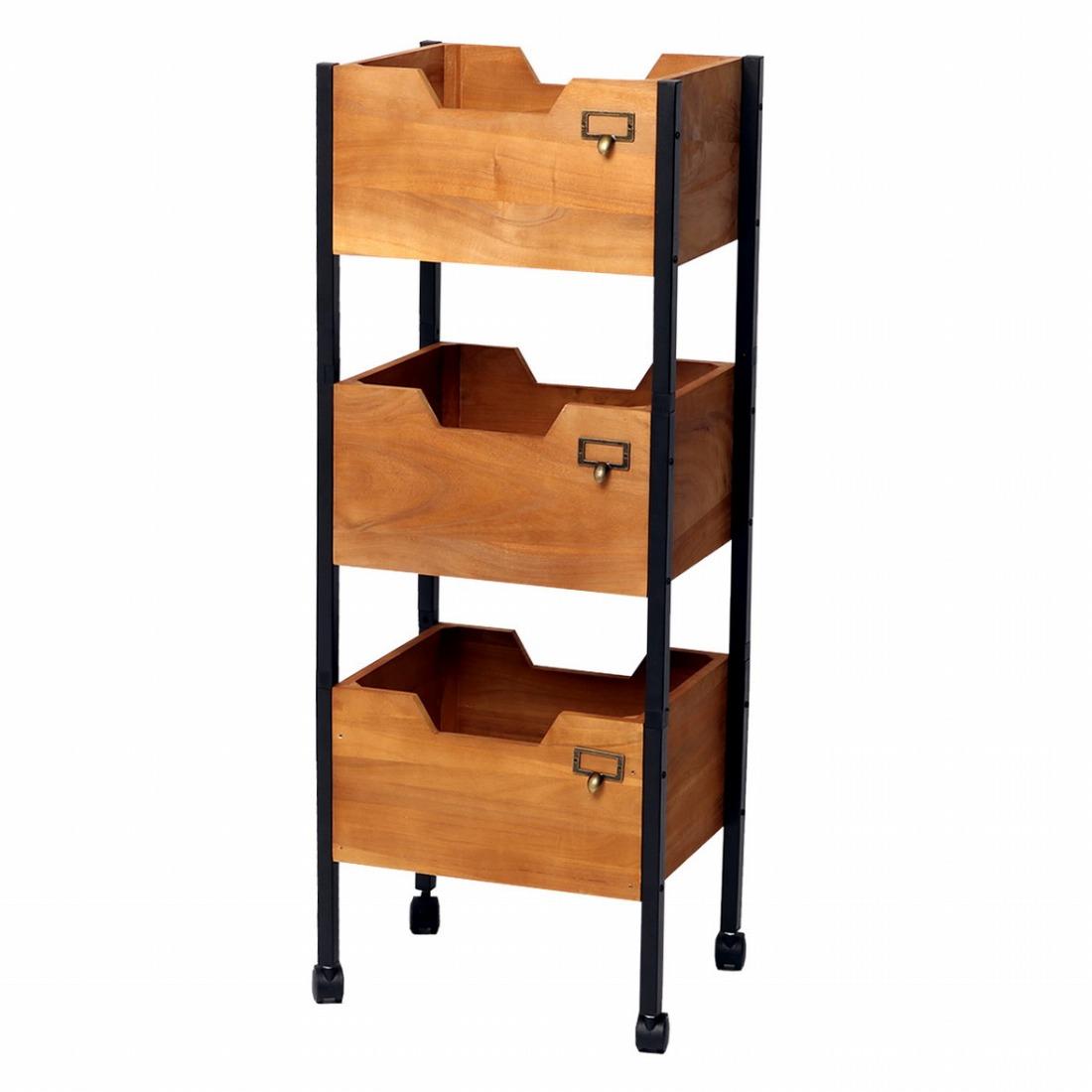 天然木製スタッキングボックス「Raku-en」3段セット 簡単組立 収納 キャスターアンティーク モダン ナチュラル(代引不可)【送料無料】