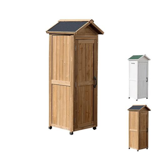 三角屋根スリム収納庫 ライトブラウン 木製収納庫 収納庫 倉庫 木製 おしゃれ カントリー風(代引不可)【送料無料】