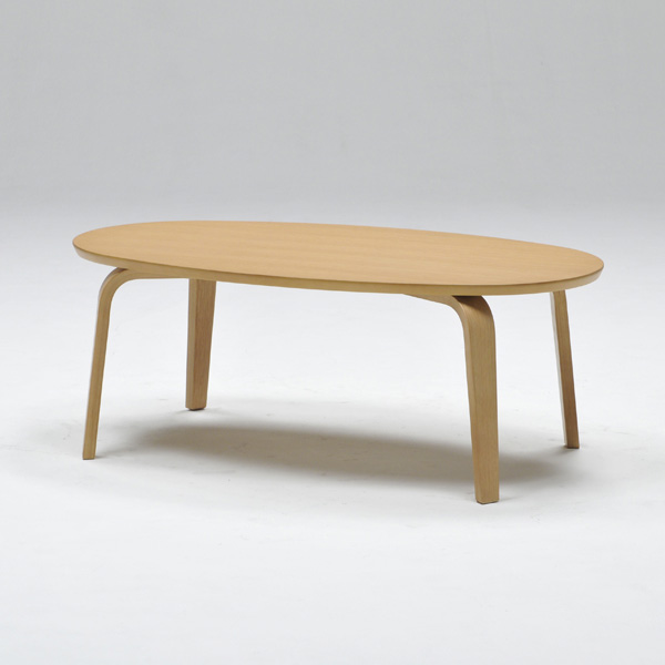 センターテーブル リビングテーブル 楕円形 幅105cm 天然木 オーク ウォールナット シンプル ローテーブル おしゃれ 北欧(代引不可)【送料無料】