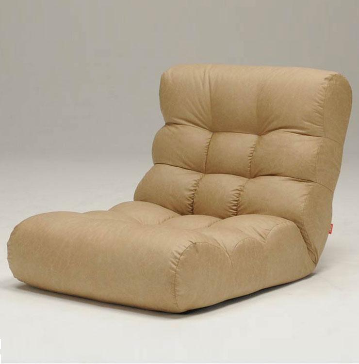 座椅子 ソファ 1P 一人掛け ビッグサイズ ローソファ リクライニング リラックス チェア 本革風 ピグレットビッグ2ndFL(代引不可)【送料無料】