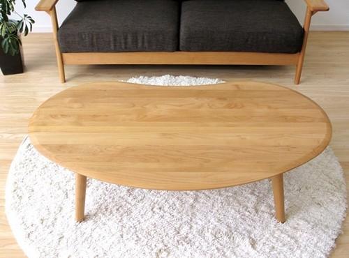 一生紀 テーブル 幅120cm(ナチュラル)【ビーンズ型センターテーブル】(代引き不可)【inte_D1806】【送料無料】