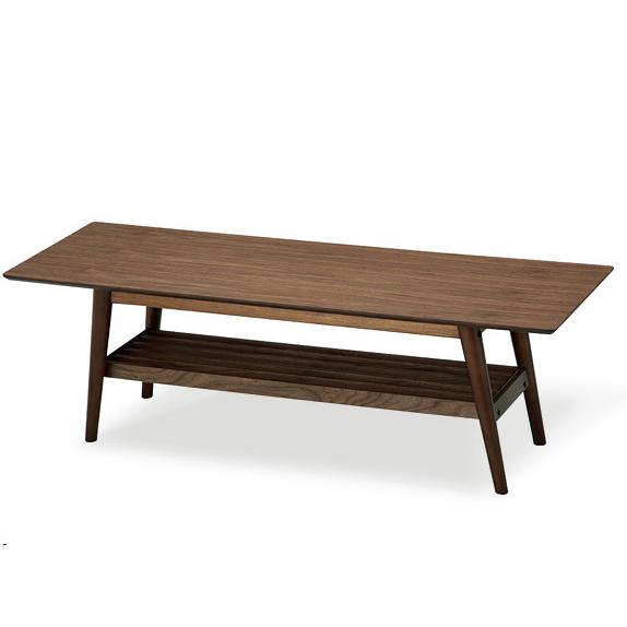 センターテーブル 木製 ウォールナット EMT-2214 ミッドセンチュリー 台形 棚付き リビングテーブル emo emo エモ (代引不可)【送料無料】