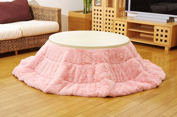こたつ薄掛け布団単品 フィラメント素材 『フィリップ円形』 ピンク 径220cm【送料無料】【代引き不可】