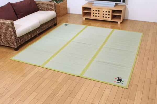 純国産 い草ラグカーペット 『くまモン すいか』 約200×200cm(代引不可)【送料無料】