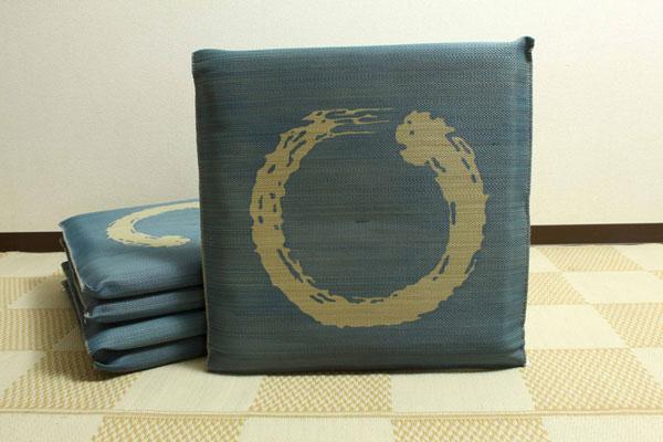 純国産 捺染返し い草座布団 『大関 5枚組』 ブルー 約55×55cm×5P(代引不可)【送料無料】