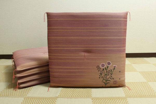 純国産 捺染返し い草座布団 『撫子(なでしこ) 5枚組』 約55×55cm×5P(代引不可)【送料無料】