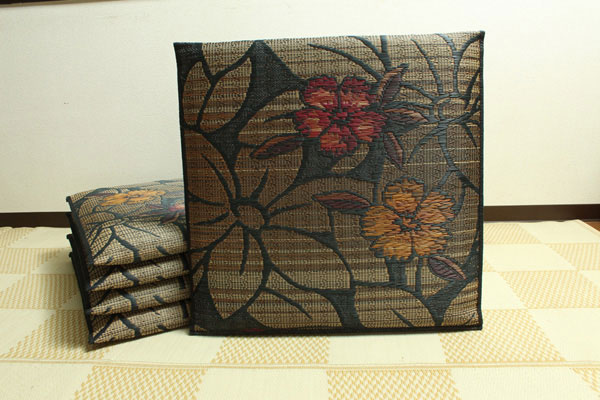 純国産 袋織 織込千鳥 い草座布団 『なでしこ 5枚組』 ブラック 約60×60cm×5P(代引不可)【送料無料】